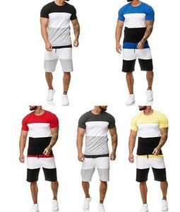Men Tracksuits Summer Sportwear 2 Piece Outfit Sport Short Sleeve Leisure Casual Thin Tops