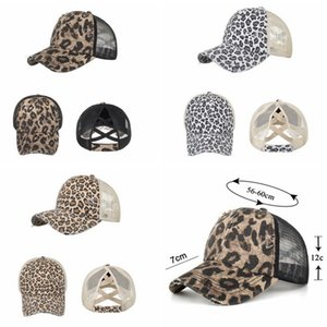 Leopard Ponytail Baseball Cap Woman Washed Mesh Criss Cross Hats Embroidered Messy Bun Hat CYZ3072