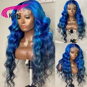 Mavi Renk Remy Brezilyalı Dalgalı Saç Dantel Ön İnsan Peruk Ombre Frontal Peruk Kadınlar için