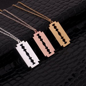 Hiphop Punk Stainless Steel Razor Blades Pendant Necklaces Men Jewelry Shaver Shape Rock Blade Women Collares