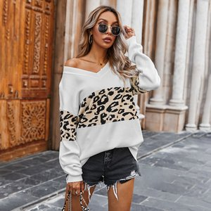 Women V Neck Leopard Patchwork Sweaters Printed Long Sleeve Color Block Casual Knitted Women's Pullover Sweater Basic Jumper Tops For Female