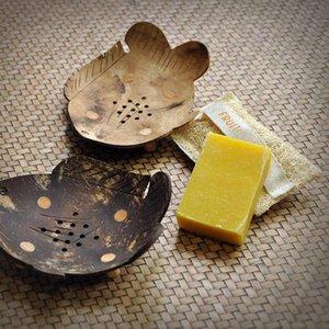 Мыльные блюда Creative Thailand Wood Box Handmade Coconut Shells Swaps Держатель для хранения Дрежок Стенд для ванной Душевая