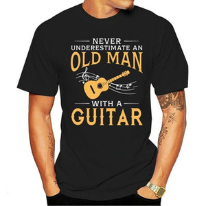 Never Underestimate An Old Man With A Guitar T Shirts Short Sleeved Branded Custom Design T-Shirts Family XXL Size