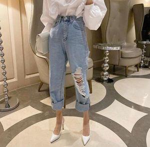 Япония и Южная Корея 2021 Весна Летний Стиль Ретро Личность Разорванные джинсы Свободные Брюки Девять Точек женские Капризы