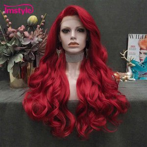 Imstyle Red Long Synthetic Front Natural Wavy Cosplay s For Women Heat Ristant Fiber White Brown Lace Wigs