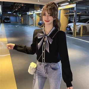 autumn and winter new women's knit sweater top loose long-sleeved slim-fitting commuter bowknot cardigan jacket sweater 210412