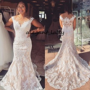 Fit and Flare Wedding Dresses 2019 vestido de noiva Illusion Neck Lace robe de mariage Covered Buttons Back Cap Sleeves Mermaid Wedding Gown