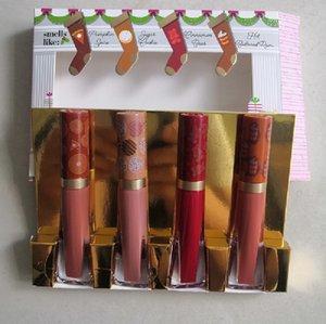 10 قطع ماكياج أحمر الشفاه الشفاه لمعان الرائحة الحلوة من عيد الميلاد يعامل مجموعة مادتين ماتي 4 ألوان هدية