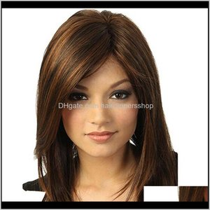Synthetic Wigs Explosion Headgear European And American Wig Mixed Color 22Inch Real Long Hair Sdhjher Pbcyi X6Tzu