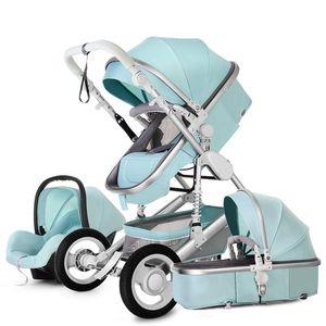 عربة طفل 3 في 1 السفر في اتجاهين محمول يمكن الجلوس والاستلقاء إطار الألومنيوم قابلة للطي عربات المشهد المرتفعة