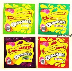 500 mg ekşi meyveler tropikal cannavürst şeker ekileri ambalaj çanta çapraz sınır torbalar -Selling gummies ücretsiz boş