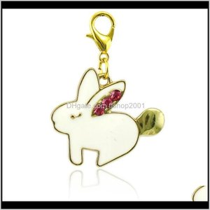 Jinglang Floating Lobster Clasp Dangle White Enamel Rabbit Animal Charms Diy For Jewelry Making Accessories 7Fnys Cj43Q