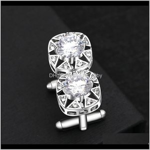 Cuff Links Tie Clasps Tacks Jewelry Drop Delivery 2021 Luxury Highend Pure Copper Big Zircon Insert Into Technology Square Quality Workmans S