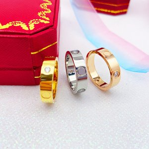 New fashion Stainless Steel Jewelry 6MM and 4MM Love rings for woman man lover rings gift 18K Gold-color rose gold plated with box