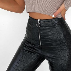 Elegant Womens Pants High Waist Faux Leather Women Pencil Skinny Office Ladies Trousers Casual Slim Black Capris J30