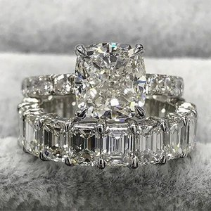 Square Princess Cut CZ Wedding Finger Rings Set For Women Fashion Engagement Full Diamond Cubic Zircon Band Ring Eternity Vintage Jewelry Accessories Gift