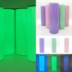 20 OZ Fluorescent Blank Sublimation Bottle Stainless Steel Skinny Tumbler Mugs Straight Vacuum Cup Night Light Luminous Thermal Transfer H32BPHD