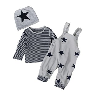 baby 6m to 3 years Long sleeve star sets, boys Girls spring clothing, (hat+shirt+Suspender trousers), fall boutique clothes, 756 S2
