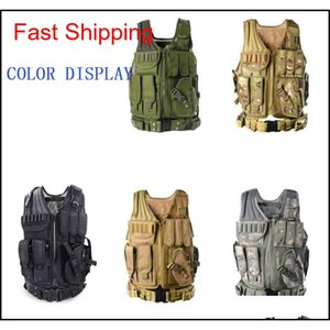 Vests Gear Camo Men Vest Molle Tactical Paintball Assault Shooting Hunting Clothes Clothing With Holster Drop Delivery 2021 Oib5C