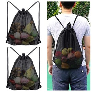 Home Storage Bags Reusable Shopping bag Fruit Vegetables Grocery Shopper Mesh fabric drawstring bag T2I52185