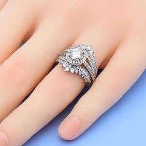 Princess Wishbone Ring set CZ Diamond 3 in 1 Wedding Rings with Original box for Pandora 925 Sterling Silver ring Women Girls jewelry