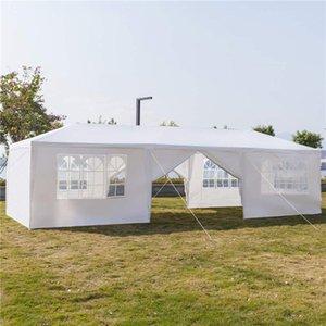 Ombre Bâtiments patio, jardin jardin domestique Garden10x30ft 8 côtés 2 portes Canopée extérieur Party Tente de mariage Blanc 3x9m Gazebo Pavillon avec SP
