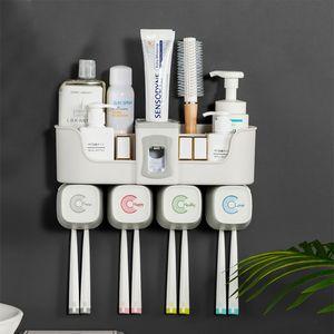 4pcs Multifunctional Toothbrush Accessories Set Automatic Toothpaste Dispenser Holder Bathroom Storage
