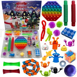 Christmas Fidget Toys Xmas Countdown Calendar Sensory Pack Christmas Blind Box Advent Calendar Christmas Box 24pcs set RRA4409