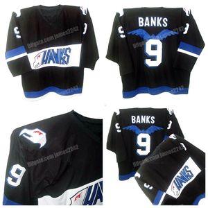 Корабль из США Adam Banks # 9 Mighty Ducks Хоккей Джерси Ястребы Команда Meam's Men's Сшитые Черные Требовые изделия
