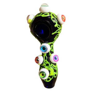 Smoking Pipes High borosilicate glass pipe in stock luminous 110mm multi color big eyes