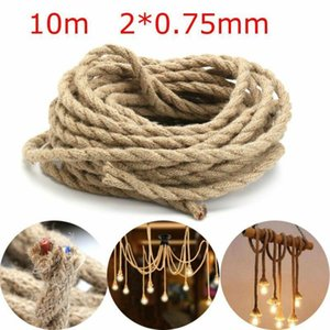 Vintage Rope Electric Wire Retro Braided Electric Cable 10M Jute Rope Twine Twisted Cord DIY Craft Handmade Decor