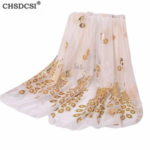 Scarves CHSDCSI Print Wrap Feminino Shawl Women Peacock Scarf Fashion Gilded Girl Neckerchief Muffler Long Tippet