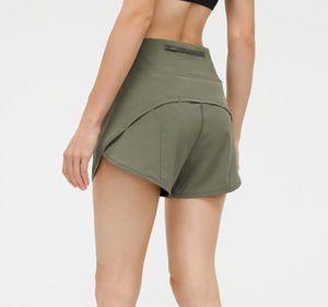 L-125 Back Taille Reißverschluss Tasche Yoga Hotty Hot Shorts Leichter Atmungsaktiv Lauf Fitness Sports Short für Frauen Unterwäsche Fitnessstudio Kleidung