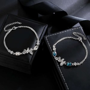 High-quality luxury goods Taobao Butterfly Crystal electroplated platinum Bracelet No original box727