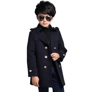 New Kids Ropa Chicos Wool Abrigo Otoño Invierno Chaquetas Chaquetas Niños Threar Thread Trench Gire Down Cuello Escuela Niños Outwear 791 V2