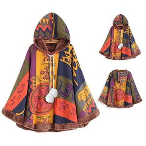 Women's Trench Coats 2021 Spring And Autumn Cotton Linen Printed Plush Cloak Loose Short Coat Women