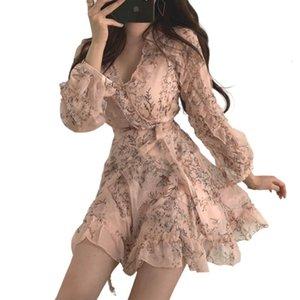 Abiti Donne Mini Lent V-Collo V-Neck Flowers Chiffon High Taille Blare Mouw Dress da donna Karolyidora KA88