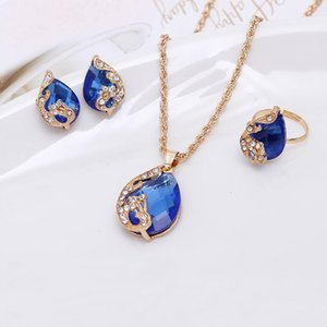 Noble Crystal Water Droplets Necklace Earring Ring Jewelry Set Wing Decorated 1129 Q2