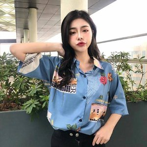 Summer Girls Retro Sweet Blouse Rose Print Short Sleeve Blouses Shirts Women Floral Chiffon Loose Top Women's &