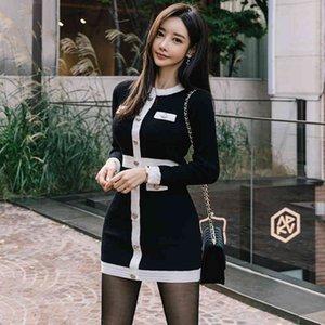 Hayblst Marka Kazak Elbise Bayan Sonbahar Artı Boyutu Seksi Zarif Vestidos Siyah Uzun Kollu Kore Tarzı Örgü Giyim 200929