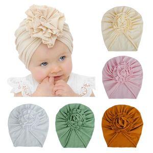20 Farben Nette Kind Kleinkind Unisex Blume Indische Turban-Kappe Kinder Blumenhut Vollfarbige Baumwolle Baby Haar Haarband Head Wraps Caps M2478
