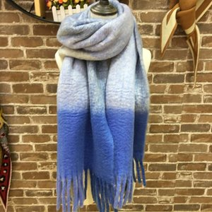 scarves gradual change warm in winter coarse Wool Plaid collar student's long scarf