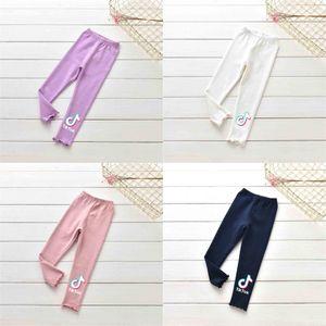 2021 Autumn Children's Solid Color Letters Printed Pants Baby Grils Pants Fashion TikTok Trousers Halloween Casual Long Trousers Clothes G973EG8
