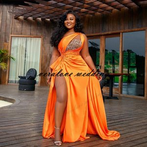 Orange Arabic Aso Ebi Beaded Crystals Evening Dress 2021 High Split Prom Dresses One Shoulder Formal Party Second Reception Gown