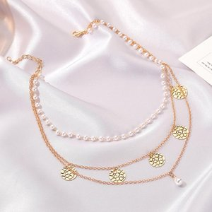 Gold Color Round Alloy Pendant Necklaces For Women Three Layered Imitation Pearls Chain Necklace Punk Geometric Collar Jewelry