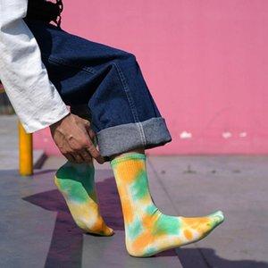 Men's Socks 2 Pairs Tie Dye Street Hip Hop Skateboard Personality Breathable Cotton Weat-absorbent Basketball Sport Men Women