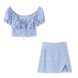 Два куска платье 2021 лето 2 коротких набора женщин сексуальный квадратный воротник урожайные вершины Split Mini юбка голубой цветочный принты костюм элегантные костюмы вечеринки