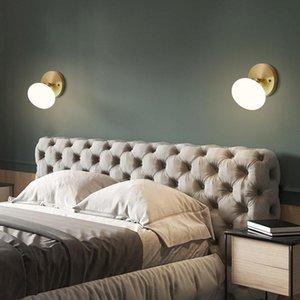 Wall Lamps Copper Nordic Living Room El Aisle Corridor Home Bedroom Bedside Loft Glass Sconce Industrial Decoration Fixture