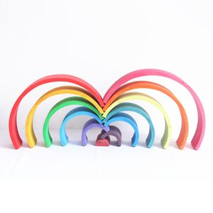 Colorful Wooden Rainbow Blocks Stack Tunnel Stacking Game Toys Kids Children R0410