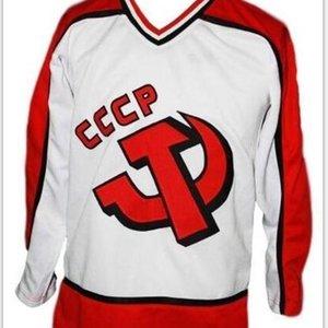 Пользовательские 009 Молодежные женщины Vintage # 24 пользовательские названия # Россия CCCP Ретро Новый белый Макаров Хоккей Джерси Размер S-5XL или пользовательское любое имя или номер
